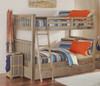 Crosspointe Driftwood Bunk Beds full over full with trundle in room