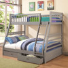 Flynn Gray Twin over Full Bunk Bed with Storage