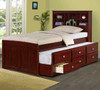 Weatherford Twin Size Bookcase Combo Captain's Bed Dark Cappuccino Room