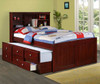 Weatherford Full Size Bookcase Combo Captain's Bed Dark Cappuccino Room