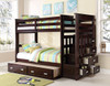 Wynn Espresso Twin over Twin Bunk Bed with Trundle shown with Trundle Mattress