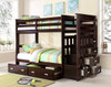 Wynn Espresso Twin over Twin Bunk Bed with Trundle shown with Trundle Storage