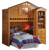 Fort Cody Honey Oak Twin Playhouse Loft Bed shown with Optional Bookcase Cabinet