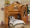 Fort Cody Honey Oak Twin Playhouse Loft Bed shown with Optional Bookcase Cabinet Room