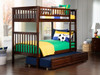 Boris Walnut Twin over Twin Bunk Beds shown with Optional Twin Trundle