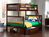 Boris Walnut Twin over Full Bunk Bed shown with Optional Set of 2 Under Bed Storage Drawers