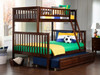 Boris Walnut Twin over Full Bunk Bed shown with Optional Twin Trundle