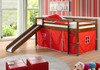 Gabby's Tent Children's Loft Bed Light Espresso Finish with Red Tent