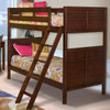 Langdon Cherry Twin Bunk Beds for Kids in room