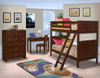 Langdon Cherry Twin Bunk Beds for Kids in room collection