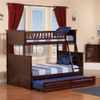 Reese Walnut Cottage Bunk Beds Twin over Full with trundle