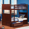 Reese Walnut Cottage Bunk Beds Twin over Twin with storage drawers