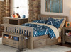 Crosspointe Driftwood Mission Bed full size with storage drawers collection