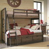 Nathan Road Distressed Brown Bunk Beds twin over full in room