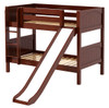 Most Fun Chestnut Twin Size Low Bunk Bed with Slide-Panel Ends