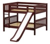 Most Fun Chestnut Twin Size Low Bunk Bed with Slide-Slatted Ends