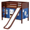 Most Fun Chestnut Twin Size Low Bunk Bed with Slide shown with Optional Blue Curtains