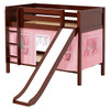 Most Fun Chestnut Twin Size Low Bunk Bed with Slide shown with Optional Pink Curtains