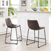 Lorenzo Counter Stools Brown Faux Leather in room
