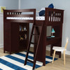 Silas Espresso Twin Loft Bed with Desk and Storage Room