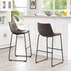 Lorenzo Bar Stools Brown Faux Leather in room