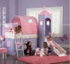 Precious Princess Twin Castle Loft Bed with Slide in room