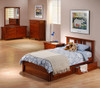 Eastwood Cherry Twin Platform Bed Frame with Headboard shown with Optional Set of 2 Underbed Storage Drawers and Privacy Panel