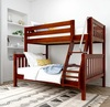 Stella Chestnut Twin over Full Low Bunk Beds for Kids Slatted Ends Angled View Room