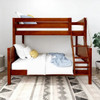 Stella Chestnut Twin over Full Low Bunk Beds for Kids Panel Ends Front View Room