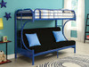 Cabot Blue Twin XL over Queen Futon Bunk Bed Room