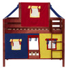 Whistle Stop Chestnut Low Twin Size Kids Playhouse Bunk Bed-Slatted Ends Front View