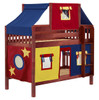 Whistle Stop Chestnut Low Twin Size Kids Playhouse Bunk Bed-Slatted Ends