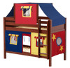 Whistle Stop Chestnut Low Twin Size Kids Playhouse Bunk Bed-Panel Ends