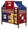 Whistle Stop Chestnut Low Kids Playhouse Bunk Bed