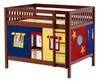 Whistle Stop Chestnut Low Full Size Kids Playhouse Bunk Bed-Slatted Ends