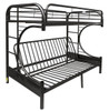 Cabot Black Twin XL over Queen Futon Bunk Bed Angled