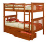 Park City Twin over Twin Bunk Bed shown with Optional Set of 2 Underbed Storage Drawers