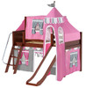 Anastasia's Chestnut Twin Girls Castle Loft Bed with Slide-Panel Ends