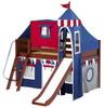 Frankie's Chestnut Twin Boys Castle Loft Bed with Slide-Panel Ends