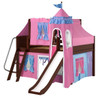 My Sweet Princess Chestnut Full Size Girls Castle Bed with Slide-Panel Ends