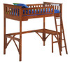 Eastwood Cherry Twin Wood Loft Bed shown with Optional Corner Desk