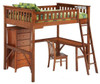 Eastwood Cherry Full Wood Loft Bed shown with Optional Corner Desk, Desk Chair and Lingerie Chest