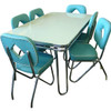Hit Parade 1950s Formica Kitchen Table and Chairs shown with White Formica top and Surfside Turquoise Chairs
