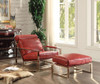 Amir Red Leather Ottoman shown with Optional Amir Red Leather Accent Chair