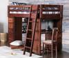 Prescott Cocoa Loft Bed with Desk and Storage Room