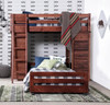 Prescott Cocoa Loft Bed with Desk and Storage shown with Optional Bottom Twin Bed on Casters Room