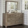 Crosspointe Driftwood 7 Drawer Dresser with matching mirror in room