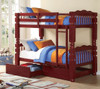 Paul Bunyan Cherry Twin over Twin Bunk Bed shown with Optional Set of 2 Underbed Storage Drawers Room