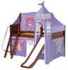 Purple Princess Chestnut Twin Girls Loft Bed-Panel Ends