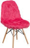 Faux Yeti Accent Chair Hot Pink